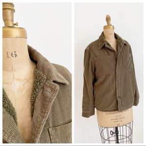 ZARA olive cord chore jacket with shearling lining